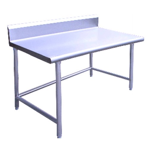 "Evoo (B5EVS2496-CB) 96"" X 24"" Stainless Steel Open Base Work Table with Welding Cross Bar with 5"" Back Splash, Prep Table"